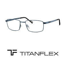 Titanflex logo and blue titanium frame at Cranford Opticians, Hounslow