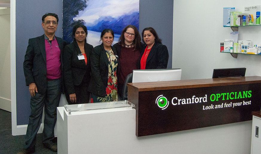 The staff at the Cranford Opticians. An independent Opticians in Hounslow, London