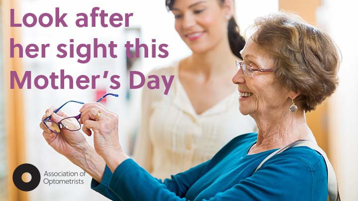 Mum and daughter, with text 'Look after her sight this Mother's Day' Cranford Opticians, Hounslow near Heathrow Airport