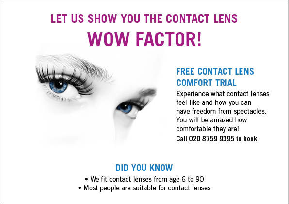 Special offer: Free contact lens comfort trial. Offer available at Cranford Opticians, Hounslow, London