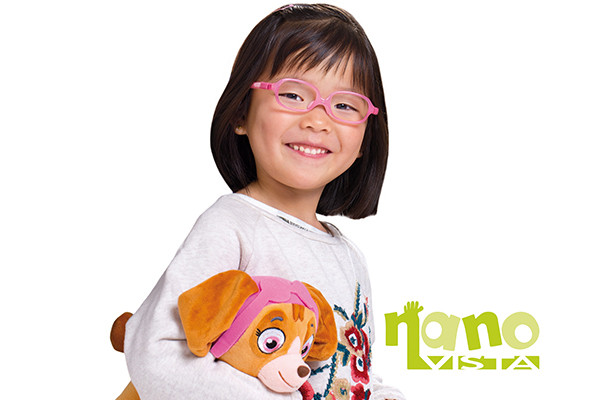 Little girl in Nano vista spectacles available at Cranford Opticians, Hounslow, London