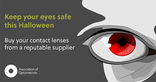 """Image showing bloodshot red eye and reads """"Keep your eyes safe this Halloween, Buy your contact lenses from a reputable supplier"""""""