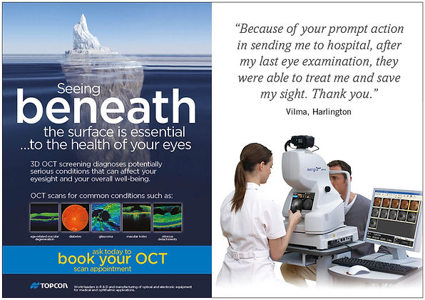 Image showing how the 3D OCT eye test is done. It also shows an iceberg that carries on below the surface of the water indicating it is essential to check below the surface of the retina for your eye health