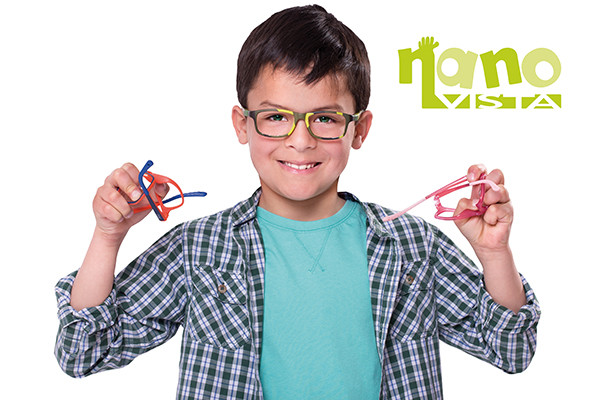 Boy wearing Nano vista spectacles available at Cranford Opticians, Hounslow, London