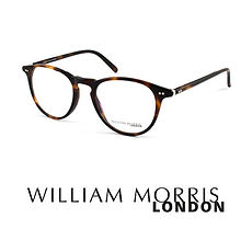 William Morris logo and tortoise acetate frame at Cranford Opticians, Hounslow