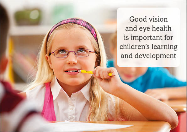 """Child in a classroom with glasses with the caption """"good vision and eye health is important for children's learning and development"""""""