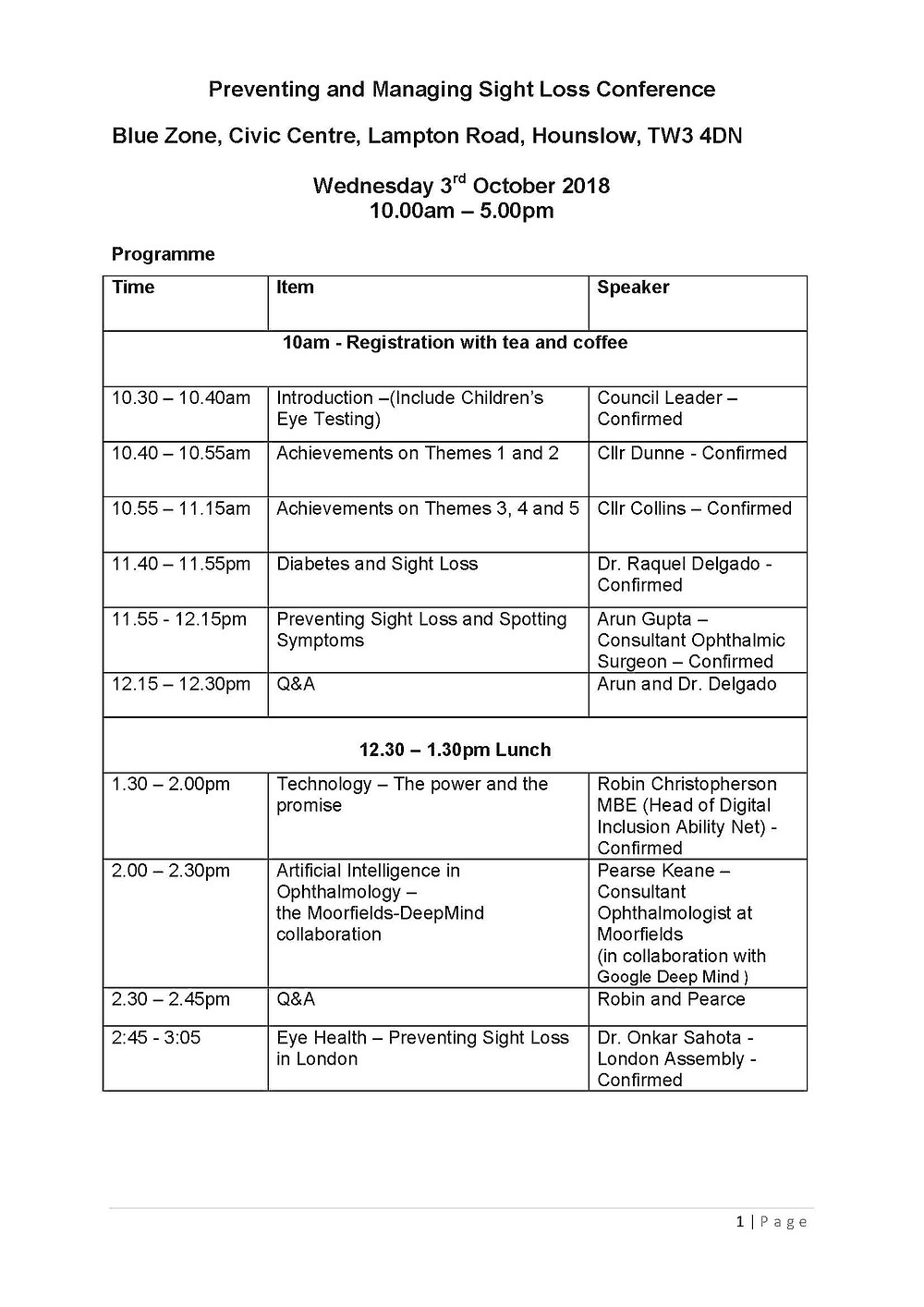 Schedule for Preventing and Managing Sight Loss Conference on 03/10/18 in Hounslow, London, page 1