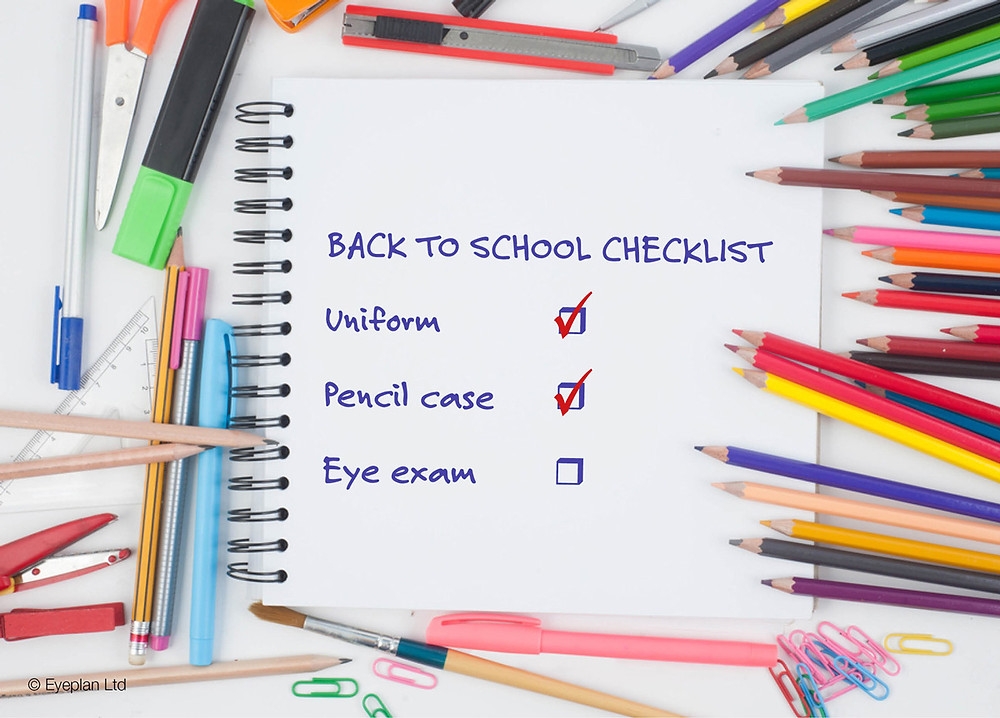 Back to school checklist including eye exam for Cranford Opticians, Hounslow, London