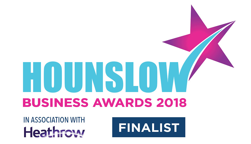 Logo for Hounslow Business Award 2018 as Cranford Opticians in Hounslow has been shriotlisted as a finalist for independent business of the year