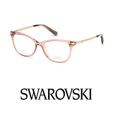 Swarovski logo and pink acetate frame at Cranford Opticians, Hounslow