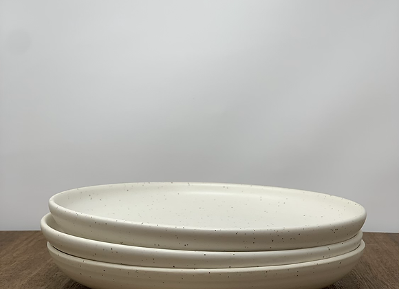 Lunch plate in speckled cotton