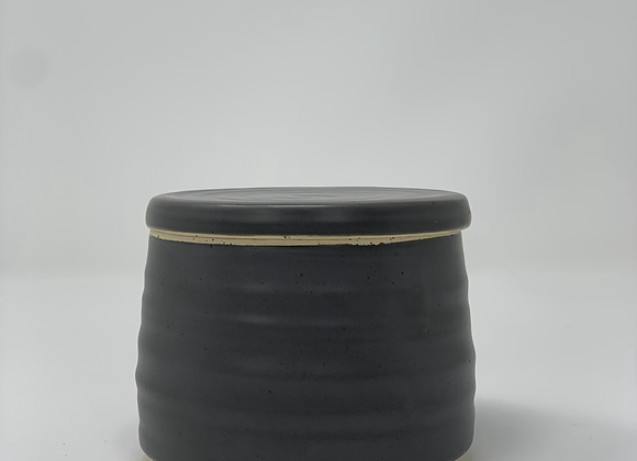 French butter dish in charcoal