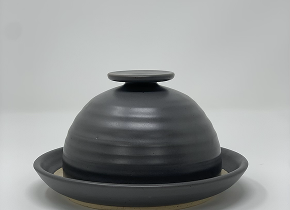 Butter dish in charcoal