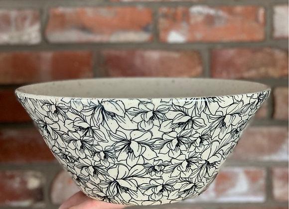 XL fruit / serving bowl with magnolia floral print