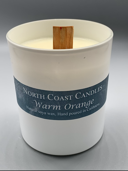 Warm orange cracklewood soya wax candle