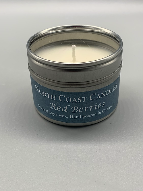 Red berries soya wax candle tin