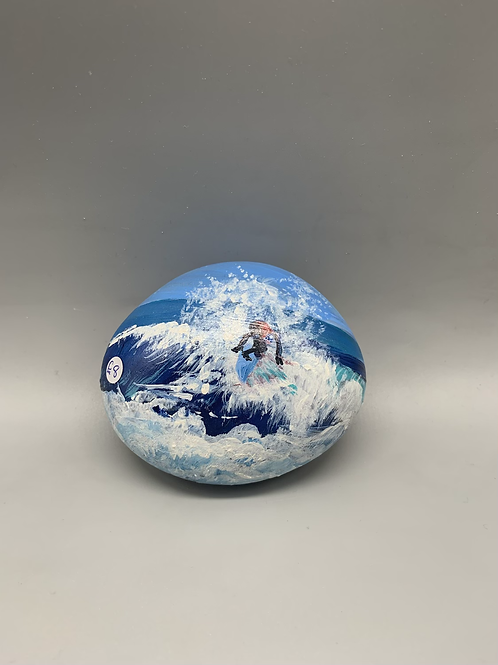 Hand painted person surfing