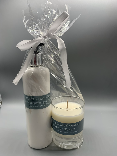 Luxury black raspberry & peppercorn body lotion & candle gift set Dunnet Forest