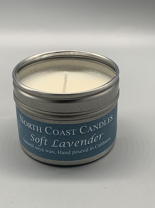 Soft lavender soya wax candle tin
