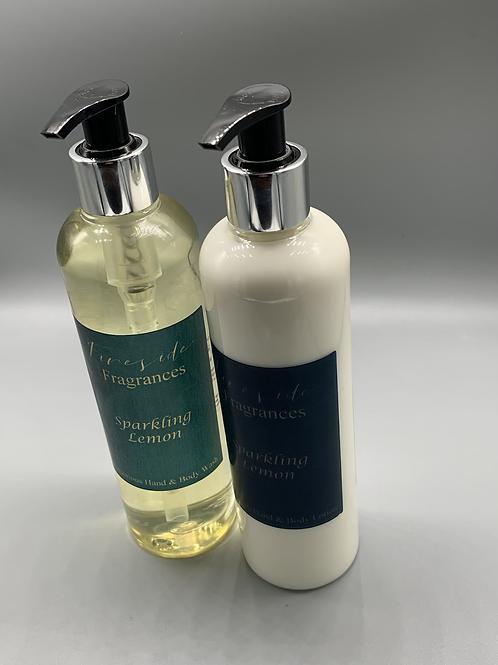 Sparkling lemon luxury soap and lotion set