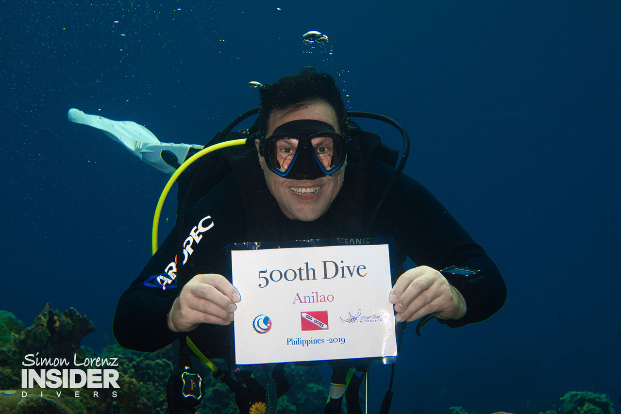 500th Dive, in the water
