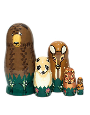 Woodland family nesting dolls - Bear, Deer, Raccoon, Squirrel, Mouse