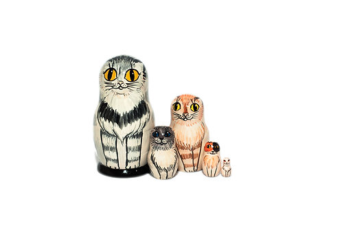 Funny little cats nesting dolls