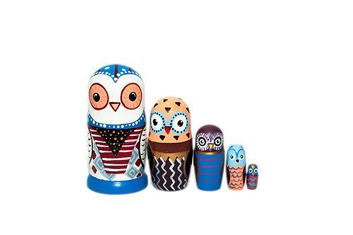 Modern Owl Family Nesting dolls