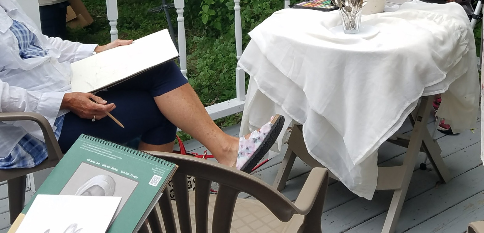 Drawing Class on back deck