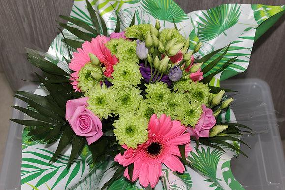 Bouquet bulle vert et rose
