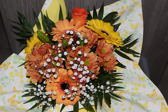 Bouquet bulle dominante orange