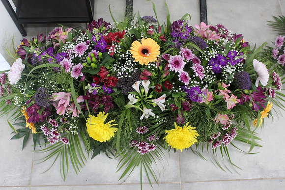 Dessus de cercueil dominante rose/violet