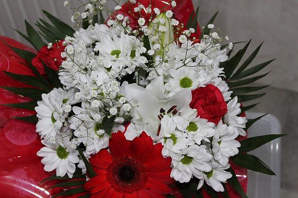 Bouquet varié blanc et rouge