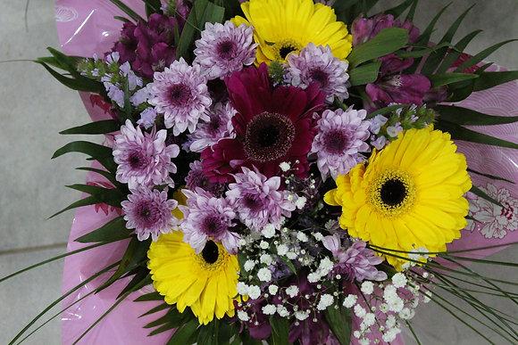 Bouquet dominante rose et jaune