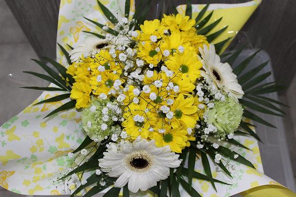 Bouquet bulle jaune et blanc