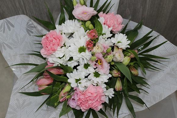 Bouquet bulle blanc et rose