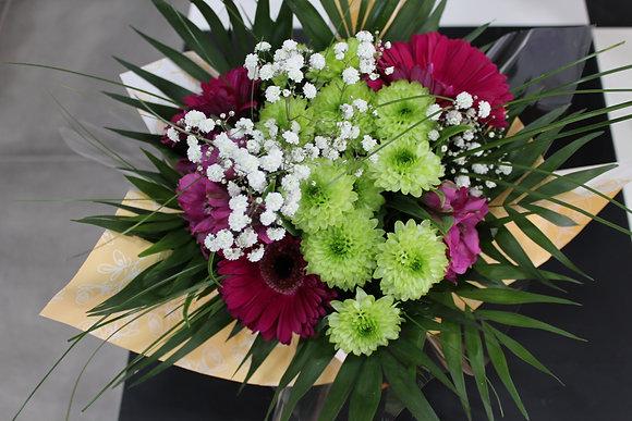 Bouquet dominante vert et violet