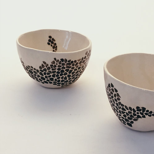 Duo - tasses à café - décor graines