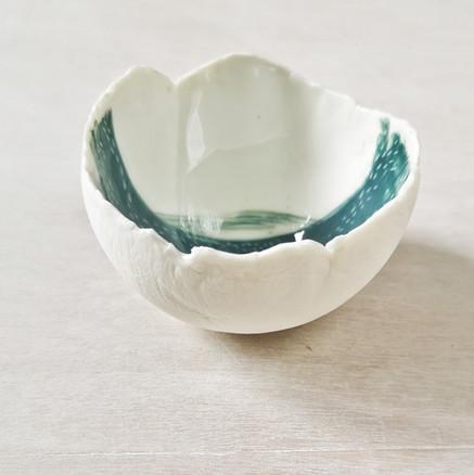 Coupelle porcelaine décor vert