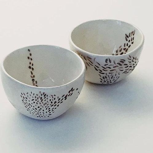 Duo - tasses à café - décor plumes