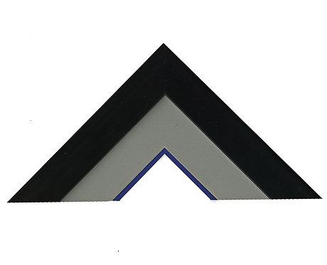 Large Print: Grey/Navy Mats with Black Wood Frame