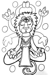 Meditating Lion Coloring Page