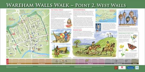 Wareham Walls Walk interpretation board