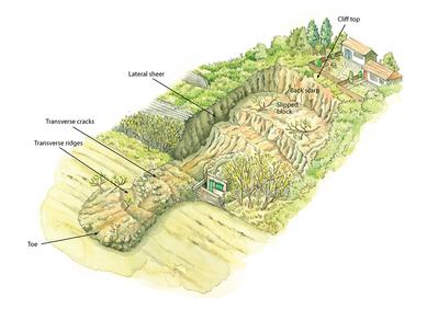 Landslide illustration Swanage Cliffs interpretation board