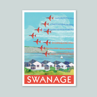 Poster Print swanage red arrows Esty mai