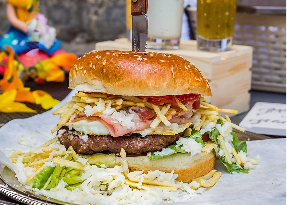 A burger from Rica Arepa, a Venezuelan restaurant in Hermosa.