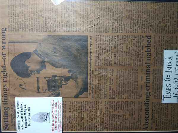 forensic handwriting and fingerprint expert vc mishra in times of india TOI