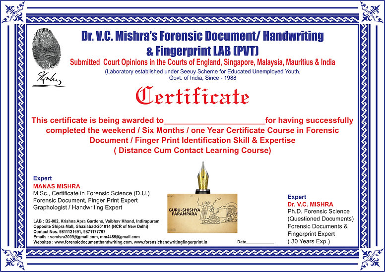 CERTIFICATE COURSE IN FORENSIC