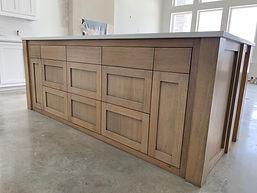 White Oak Island custom cabinets