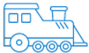 Blue Steam Train